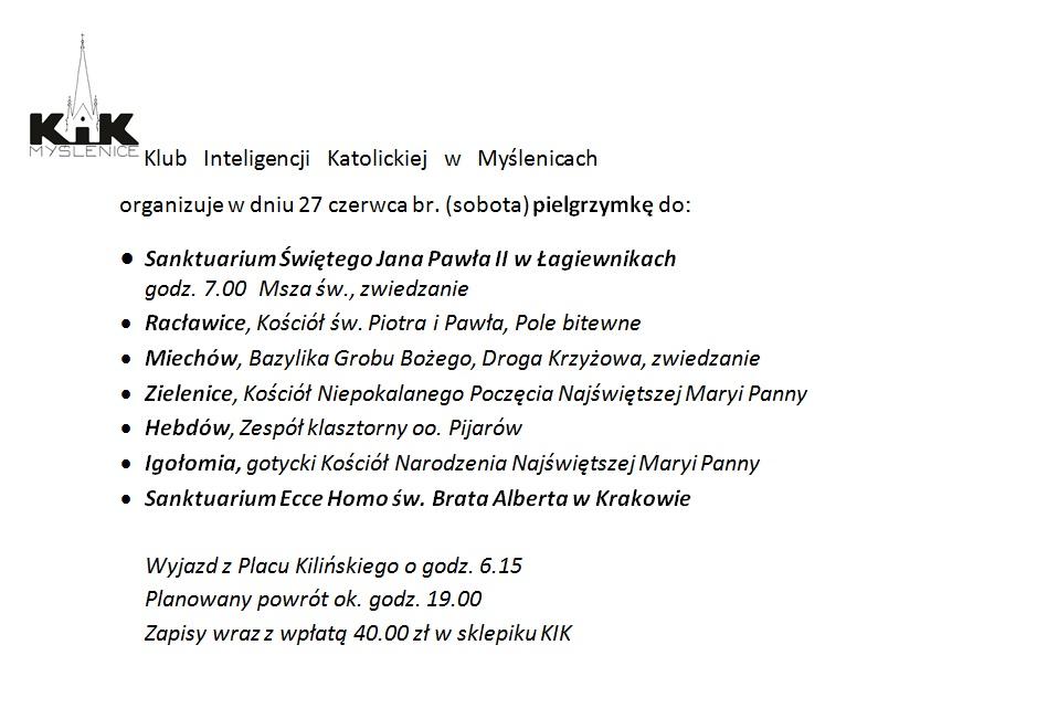 Pielgrzymka KIK (27.06.2015)